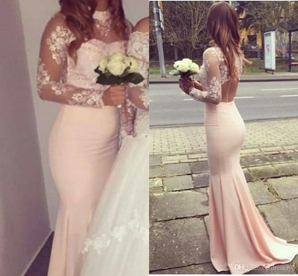 Glamouröse rosa Ballkleider Stehkragen Meerjungfrau schiere lange Ärmel Applikationen Empfang Kleider arabische Partei Brautjungfer Abend