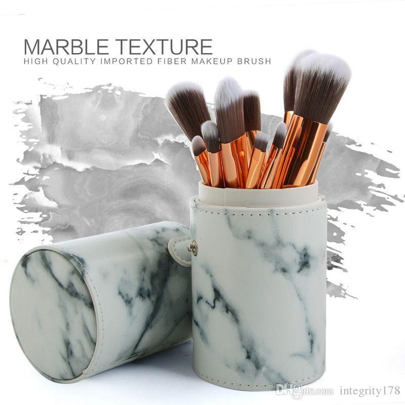 MAANGE / Set Pro Marbling Spazzole trucco Kit modello in marmo Cilindro PU Borsa pennello Potenza Bellezza Make Up Brush Strumenti cosmetici
