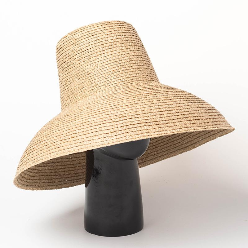 15730e31c8d Vintage Summer Large Raffia Sun Bucket Hats Women Retro Nature Big Straw Hat  Ladies Blank Wide Brim Beach Caps Wholesale Bucket Hats For Women Kentucky  ...
