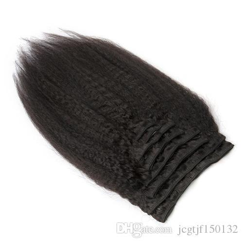 Brasilianisches Jungfrau-Haar verworrenes gerades Klipp im Menschenhaar 8 Stücke und 120g / Set natürliches schwarzes grobes Yaki