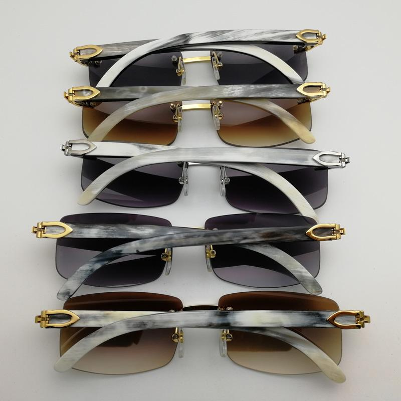 77d8b5963c Natural Black White Buffalo Horn Sunglasses Men Rimless Square Clear Glasses  Frame Vintage Shades For Club Outdoor Eyewear Sunglasses Case Knockaround  ...