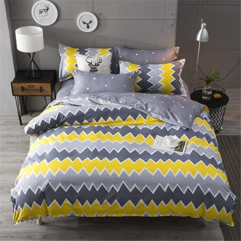 Großhandel Gelb Und Grau Einfache Bettwäsche Kissenbezug Bettbezug