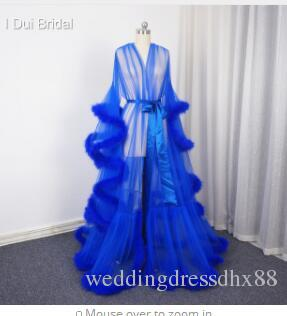 e9d36ed0e5 Royal Blue Feather Bridal Robe Muslim Long Sleeve Feather Robe Masquerade  Dance Dress Homecoming Dress Wedding Gowns On Sale Brides Dresses Online  From ...