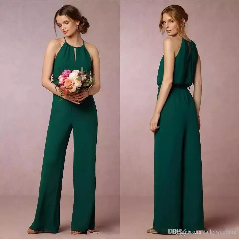 Dark Green Bridesmaid Pant Suit Dresses Flow Chiffon Maid Of Honor