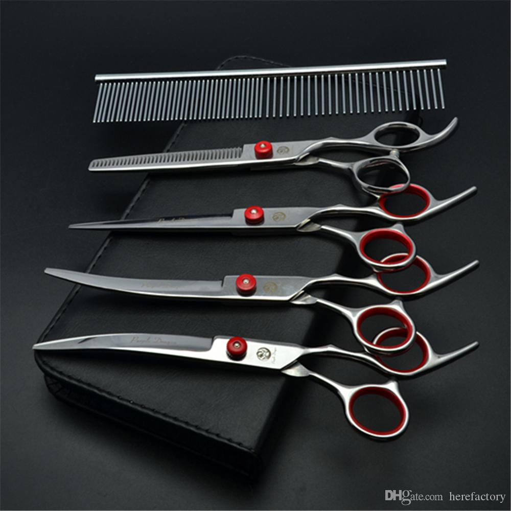 "Suit 6"" Purple Dragon Pets Hair Grooming Shears Steel Comb+Cutting+Thinning Scissors+UP&Down Curved Shears Cats Hair Clipper Z3001"