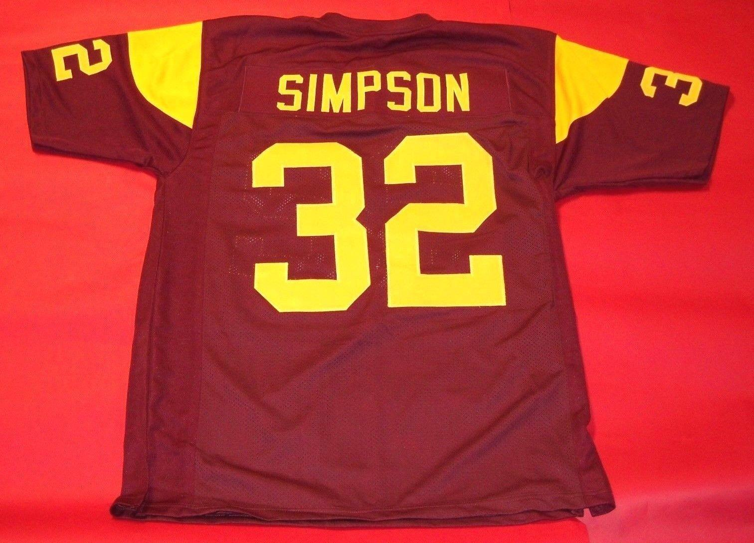 Cheap #32 O.J. SIMPSON CUSTOM USC TROJANS Wine Red JERSEY HEISMAN Men Stitching Football jerseys Fat man Big And Tall 4XL 5XL 6XL For sale