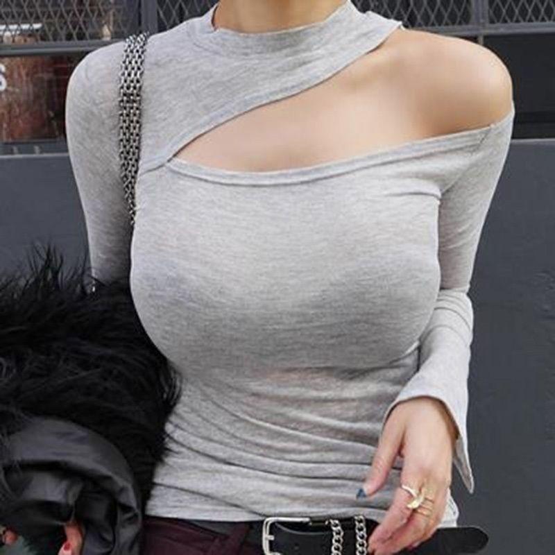 600c5864bd7f6 Womens Sexy T Shirt Hollow Out Off Shoulder Thin T Shirt Cotton Tee Tops Cut  Out Long Sleeve Clubwear Basic T Shirts Biker T Shirts Make Your Own T  Shirts ...