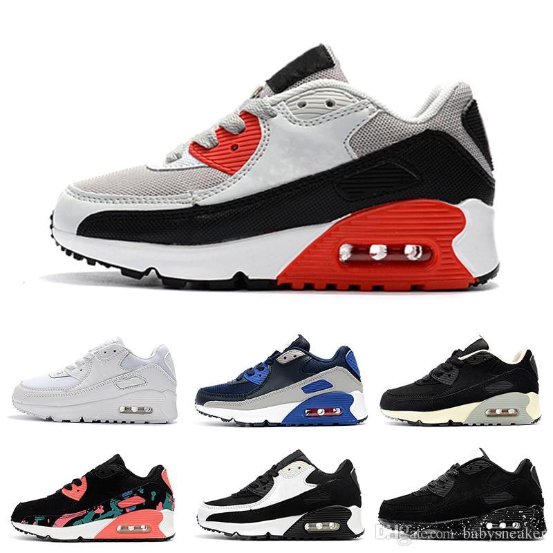 online store ae4a5 78d0f Acheter Nike Air Max 90 Chaussures Enfants Enfants Classique 90 Vt Garçons  Et Filles Chaussures De Course Noir Rouge Blanc Sports Trainer Coussin  Surface ...
