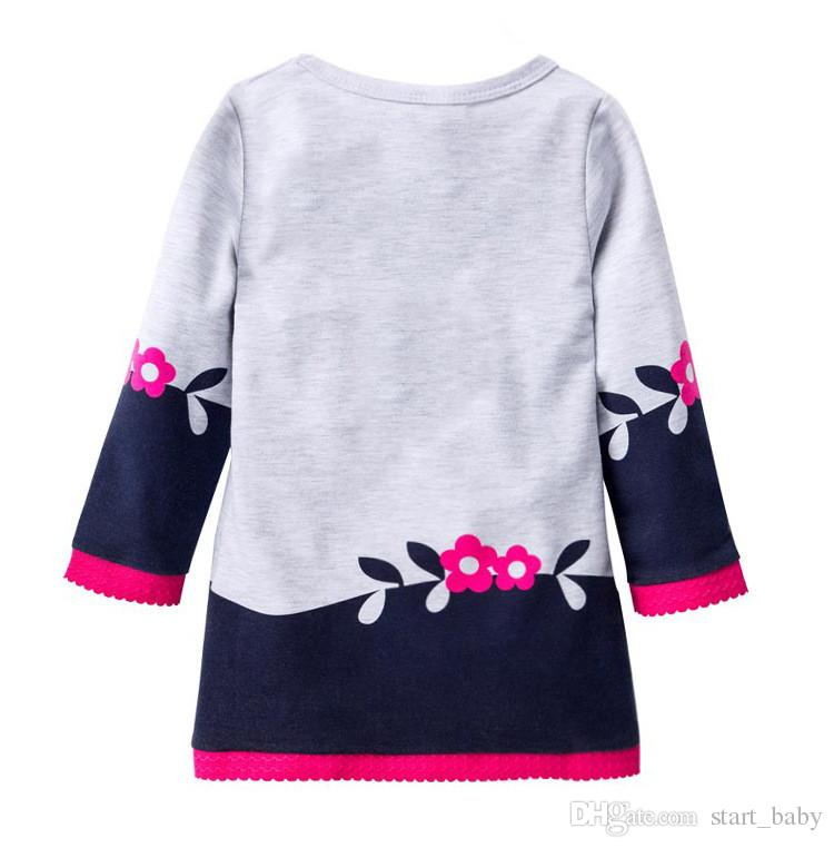 Autumn dresses for girl Girls clothing Cute Fox Prints Lace Flowers dress Long sleeve Winter bottom dresses 2T 3T 4T 5T 6T Hotsale B11
