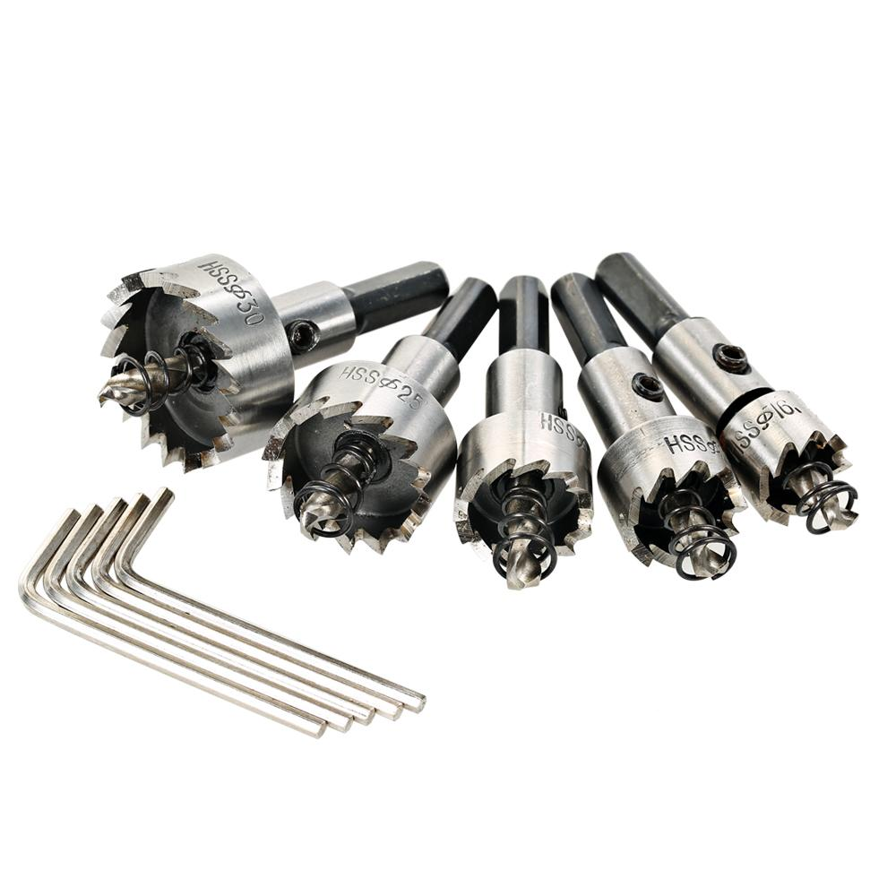 5PCS power tools hole saw cutter High Speed Steel drill bit Saw Tooth HSS Drill Bits Set 16/18.5/20/25/30mm woodworking Tool