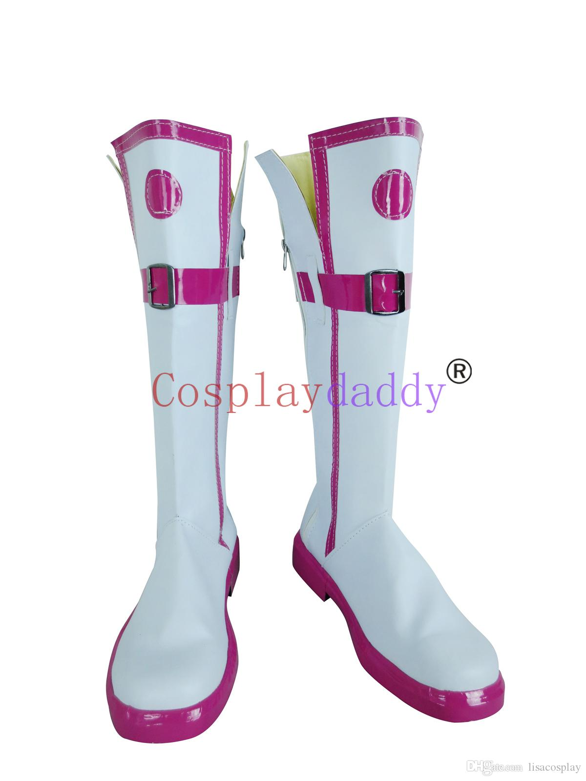 Vocaloid 3 Library IA White with Pink Cosplay Shoes Boots S008