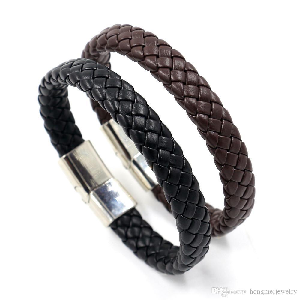 Hot Mens Braided Leather Bracelets Fashion Magnet Buckle Design