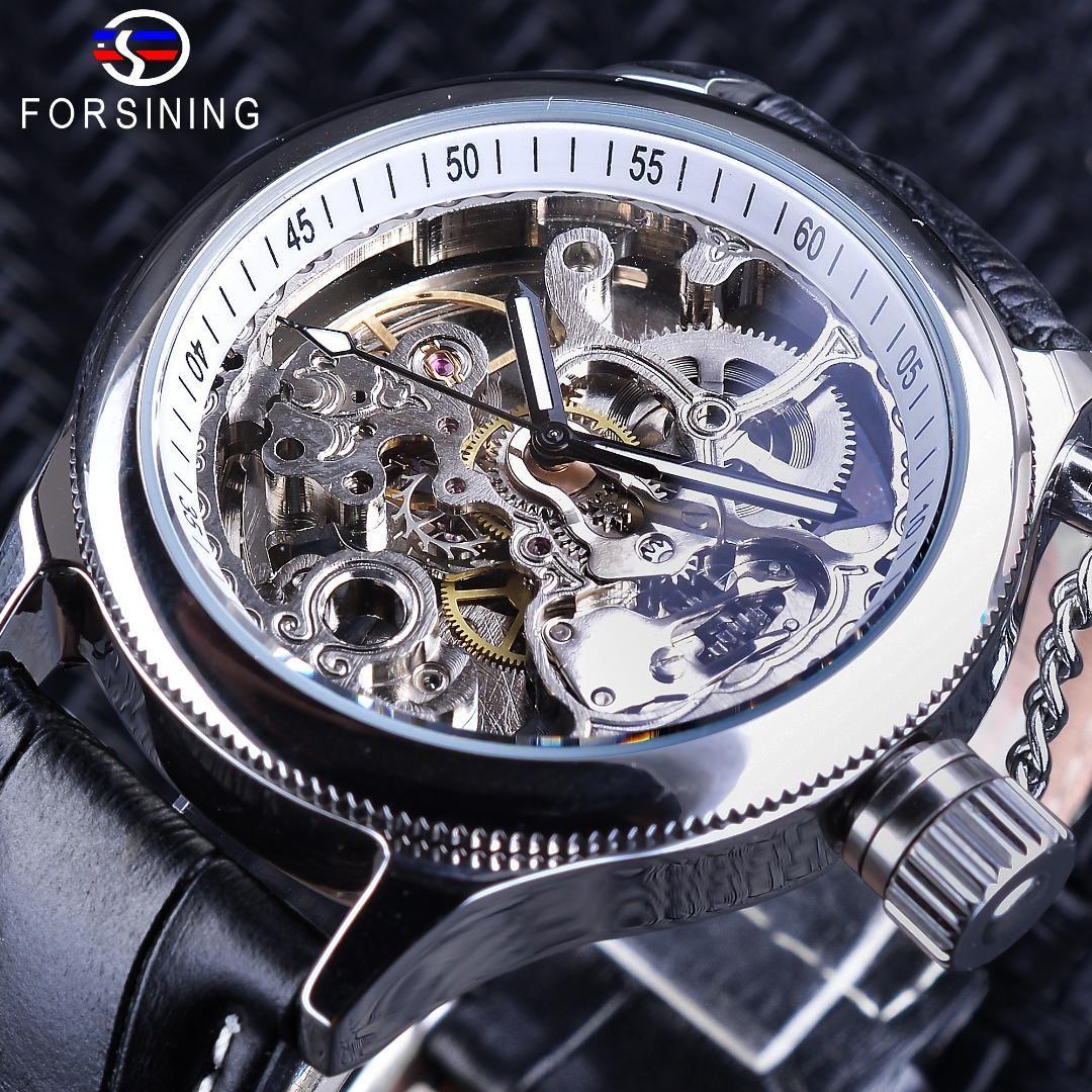 03afe93aaa8 Compre Forsining Relógio De Moda Esqueleto De Prata Relógio Engrenagem  Design Mecânico Relógios De Pulso Para Homens Mãos Luminosas Preto Couro  Genuíno De ...