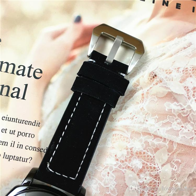 New mens watches Gentalmen luxury brand watches fashion wristwatch leather black Big dial MAle Relogio Montre Femme Lovers clock Free box