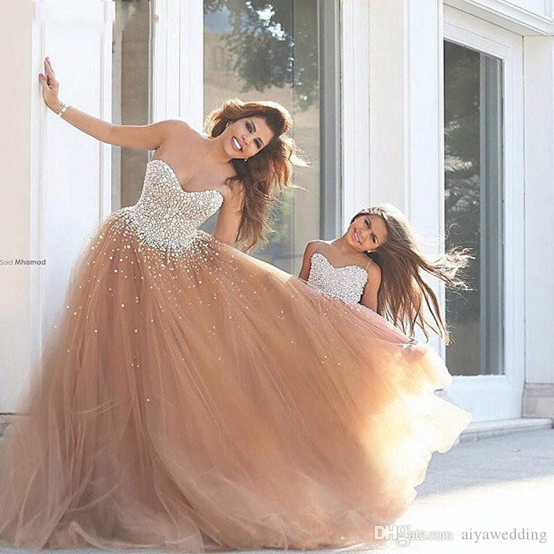 Shinning Rhinestones Evening Gowns Ball Gown with Beading Champagne Tull Corset robe de bal Formal Prom Dress