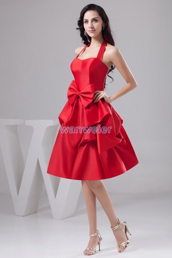 Entwurfs-heißer Verkauf des freien Entwurfs des Verschiffens 2018 handgemachte Bogenstrandart und weisebrautkleid Halter-kundenspezifische Größe / Farbe kurzes rotes Brautjunfer-Kleid