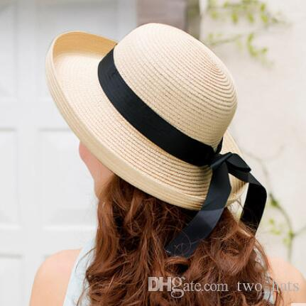 Women S Straw Sun Hats With Bowknot Foldable Solid Hat For Holiday  Travelling Sun Protection Wide Brim Hats Casual Style For Girls Cowboy Hats  Pork Pie Hat ... e1cd86b26690