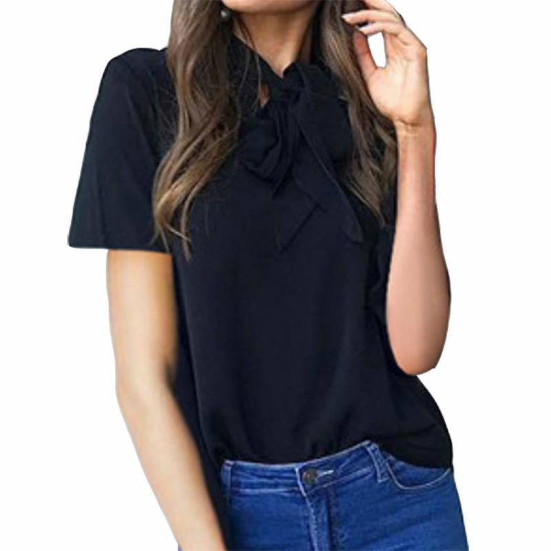 33d6c33e131ee 2019 Summer Blouse Shirts 2019 New Fashion Women Top Short Sleeve Bowknot  Kawaii Blusas Solid Casual Tops Work Office Shirt GV846 From Illusory03