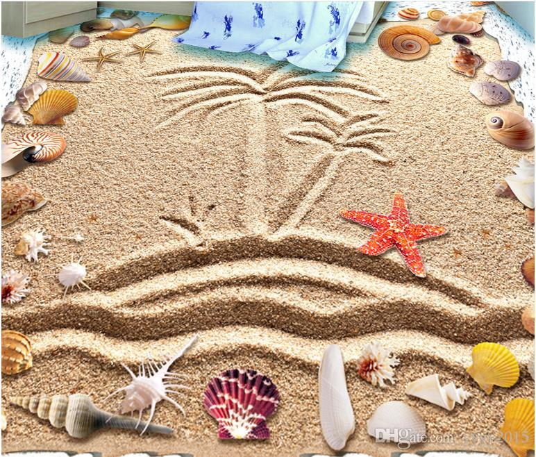 wallpaper for bedroom walls Beach hand painted island coco shell surf 3D floor wallpaper for walls 3d
