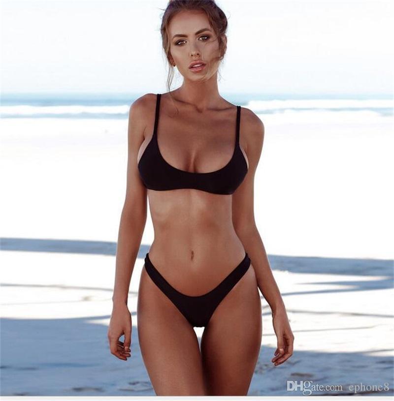 90fa9c8aad21 2018 Nuevo Verano Mujeres Bikini Sólido Conjunto Push-up Sujetador Sin  Relleno traje de Baño Traje de Baño Triángulo Traje de Baño Traje de Baño  ...