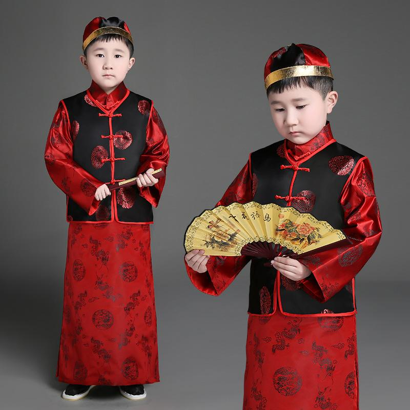 47dcb2f6a Children's Ancient Costume Qing Dynasty Traditional Chinese Dance Costumes  for Boy Girls Hanfu Dress Princess Landlord Suit