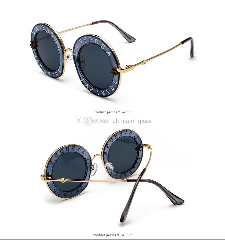 Newest 2018 Bees GG House Of Holland Letter Men Sunglass Woman Retro Round Eyewear Ladies UV400 Goggles