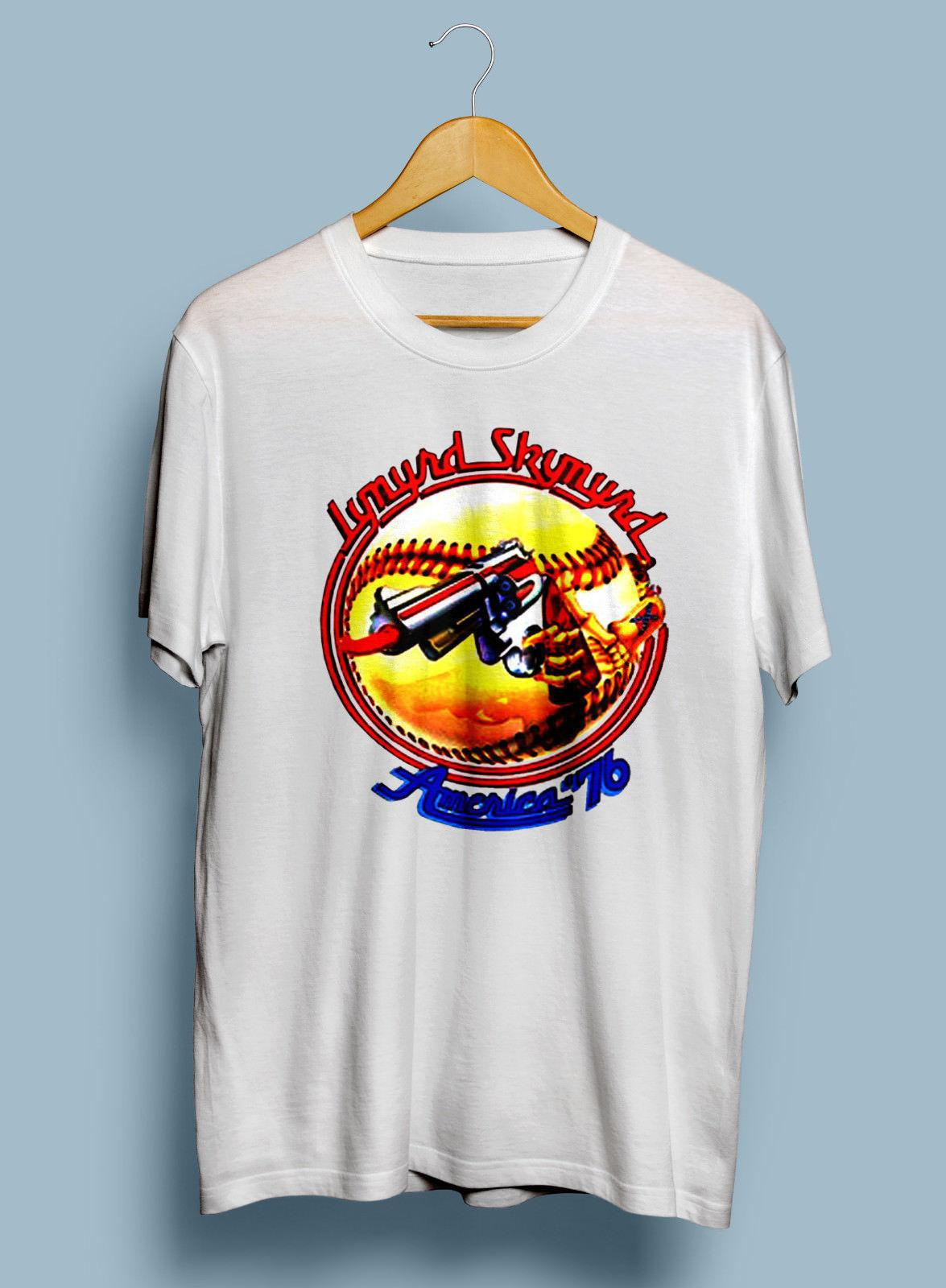 RARE Lynyrd Skynyrd Tour 1976 Vintage Reprint shirt Concert all SIze 100%  cotton casual men T shirt o-neck printing short sleeve