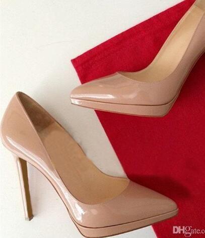 Femmes chaussures talons hauts pompes beige en cuir verni 12 cm talons hauts chaussures femmes usine en gros livraison gratuite 5Jh52zxE