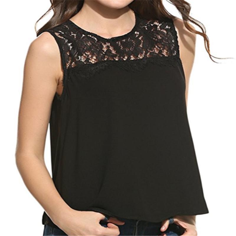 f2f1de14a85 2019 2018 Summer Womens Tank Tops Sexy Lace Vest Top Crochet Back Hollow Out  Vest Black Blue Sleeveless Tops Plus Size XXXL From Hongyeli