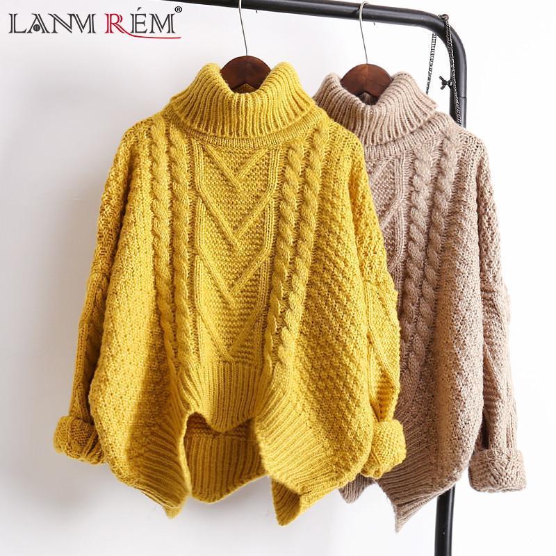 eb0d22151844 LANMREM otoño Otoño 2018 color sólido venta caliente cuello alto manga  larga jersey de tejer mantener caliente suéter mujeres M41003Y1882402