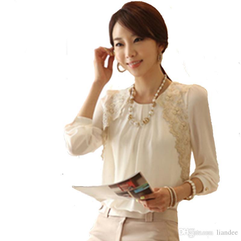306738c8cd2 2018 New Fashion Women Shirts Tops Long Sleeve Chiffon Blouse Female Lace  Patchwork Women Shirt Blouses Casual Blusas Plus Size
