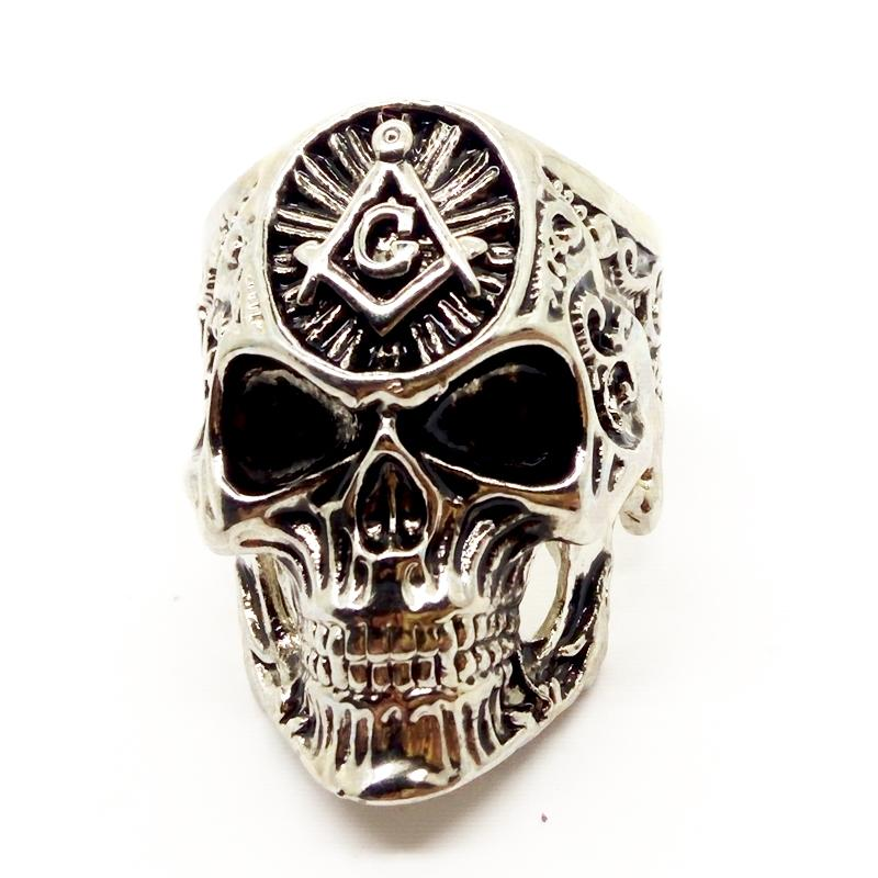 Anéis de caveira maçônica de aço inoxidável do punk do homem personalidade de alta qualidade dos homens anel de dedo anéis de motociclista frete grátis