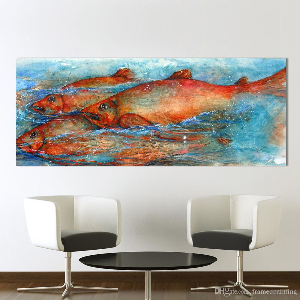 Leinwand Kunst Wandbilder Für Wohnzimmer Tier Malerei Großen Fisch  Wohnkultur Drucken Kein Rahmen