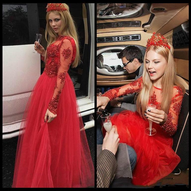 ba3862fc95d New Arrival Round Neck Red Long Tulle Lace Appliques Prom Dresses Formal  Dress Vestidos De Fiesta Dresses Party Evening Formal Dress For Women Gowns  For ...