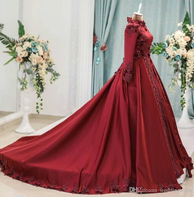 Vestidos de noche musulmanes árabes rojo oscuro con mangas largas Vestido de fiesta con cuello alto con cuentas Vestidos de fiesta Vestidos de fiesta Vestido formal con apliques 3D