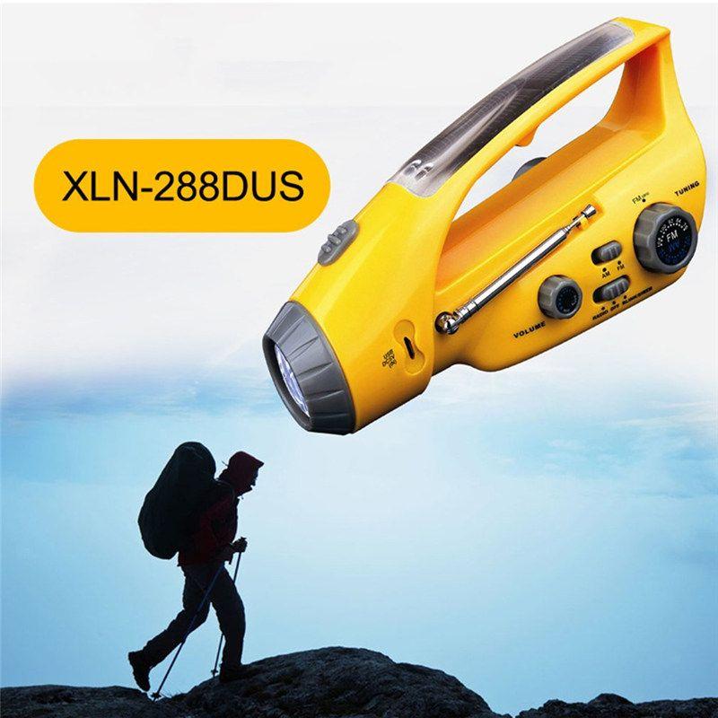 Portable Hand Crank Flashlight Led Lighting Emergency Solar Power LED Torches Multifunction Camping Flashlight with FM/ AM Radio