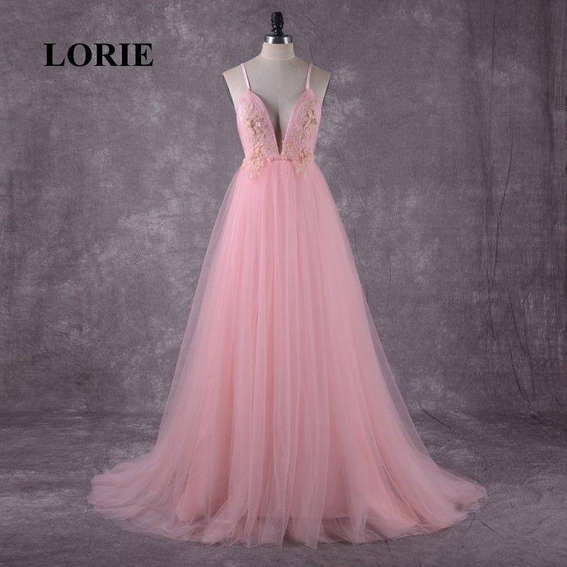 c0da7310ddb64 LORIE Pink Wedding Dress Boho Wedding Gown Appliques Backless Spaghetti  Strap Tulle Custom Made Free Shipping Bride Dresses 2018