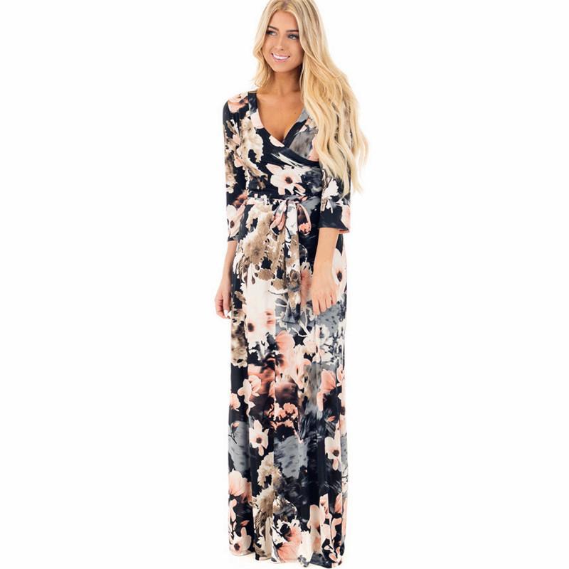 Long Maxi Dress 2019 Summer Floral Print Beach Dress Sexy Deep V Neck Bandage Bodycon Evening Party Dress Vestidos Largos Mujer