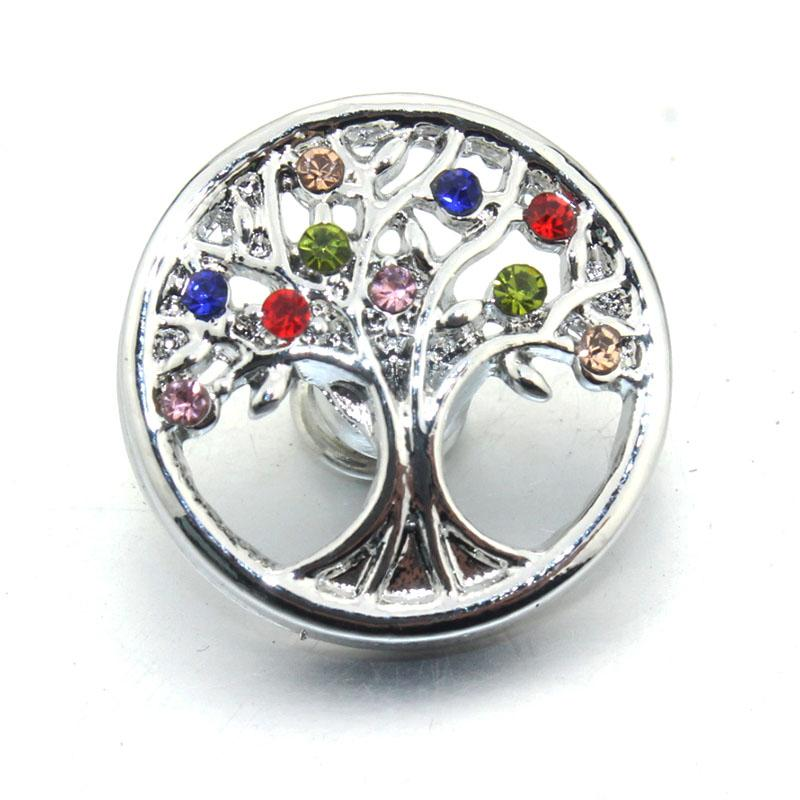 Árvore da Vida 18 MM Botão Snap Jóias DIY Cristal Padrão Rodada Botão Snap Encantos Fit Mulheres Snap Pulseira Jóias 061112