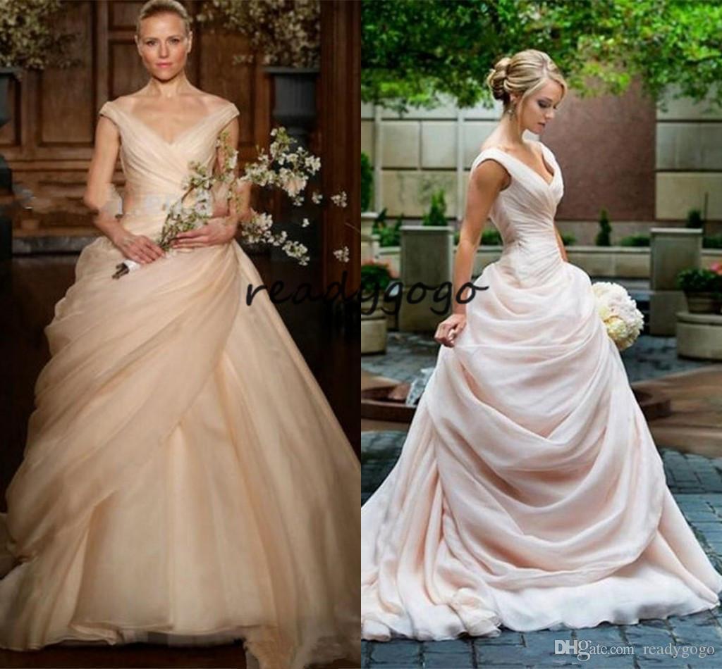Blush Pink Pick Up Ball Gown Wedding Dresses 2018 Long V Neck Side ...