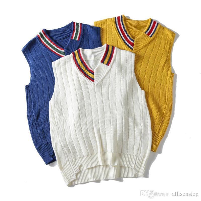 Maglioni con scollo a V pullover da uomo in maglia bianca Autunno inverno BF Harajuku con maniche lunghe da uomo in stile casual Felpe con cappuccio amante M-XL
