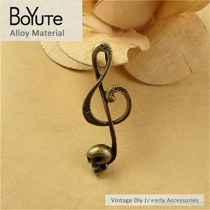 BoYuTe  41*15MM Vintage Accessories Parts Antique Bronze Music Operator Pendant Skull Material Diy Charms for Jewelry Making