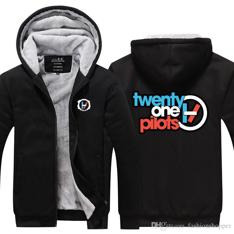 Twenty one pilots Band Winter Cashmere Hoodie Zipper Jacket Leisure Sweatshirts Thicken Cardigan Coat Long Sleeve Tracksuit Pullovers Tops
