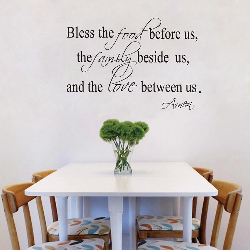 Art Of War 1 Bless The Food Family Love Religious Dining Room Vinyl Wall Decal Quote Stickers Mural ArtZ2052 Mirror Modern From