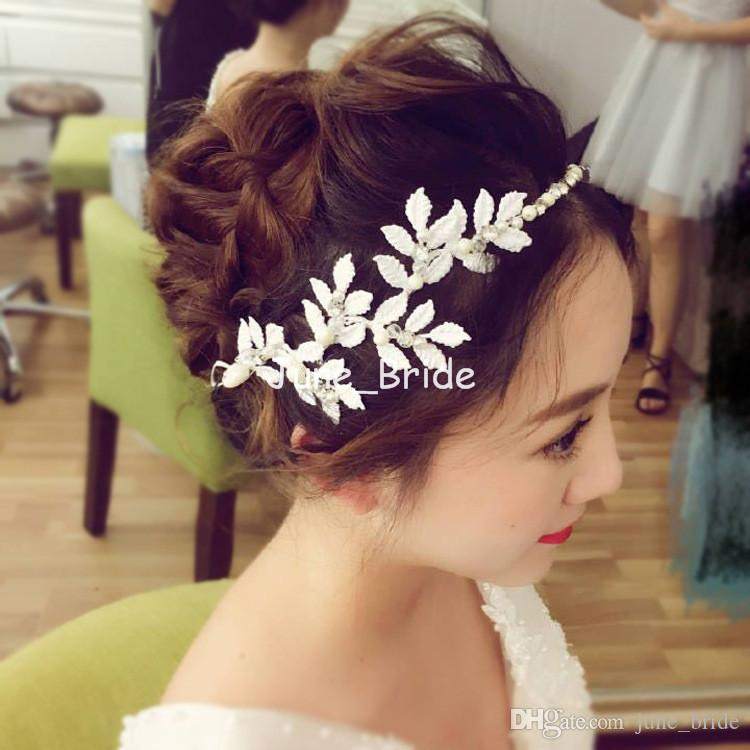 Fairy White Red Leaf Headpiece with Ribbon Romantic Crystal Pearl Bridal Wedding Hair Accessory Evening Prom Party Headwear