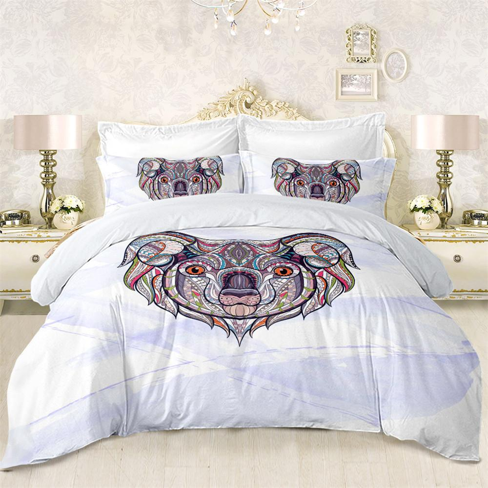 Cute Koala Print Bedding Set Colorful Geometric Duvet Cover White