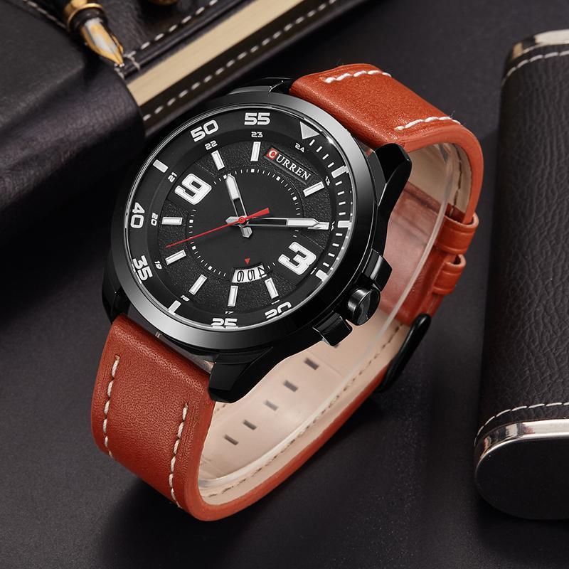 9883ae8b570e Compre Curren Fecha Hombres Reloj Nueva Marca De Lujo Superior Deporte  Militar Negocio Hombre Reloj 3D Dial Cuero Muñeca Cuarzo Relojes Para Hombre  Hot 8213 ...