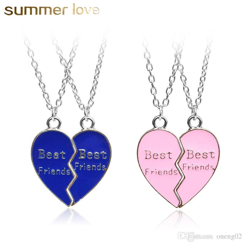 5bd8aa026f97 Wholesale Best Friends Necklace Jewelry Broken Heart Pendant Necklaces Blue  Pink Couples Paired Puzzle Heart Necklace Friendship Christmas Gifts Name  ...