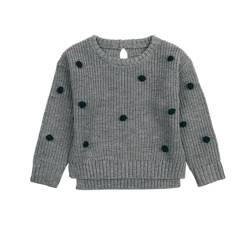 Girls Dots Crochet Sweater Newborn Baby Girls Knit Pullovers Spring Autumn  Kids Knitwear Tops Infant Clothing BC345