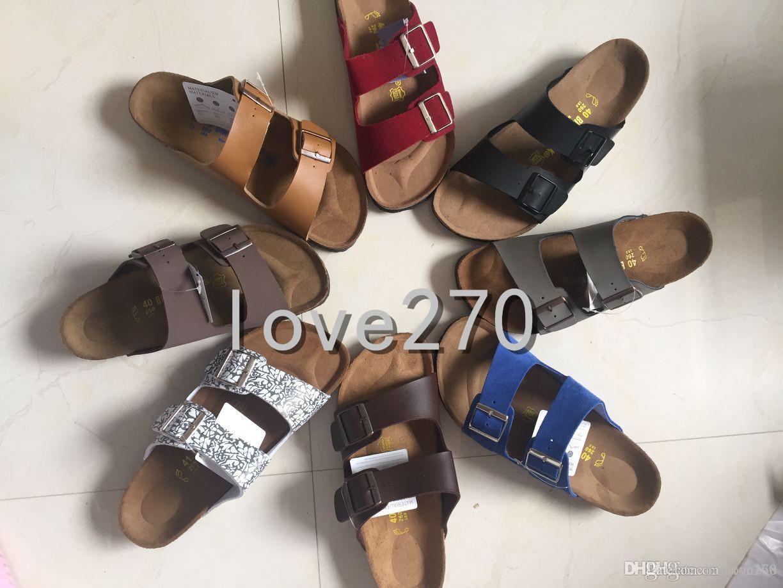 c49a37de0 New Famous Brand Arizona Men S Flat Sandals Cheap Women Casual Shoes Male  Double Buckle Summer Beach Top Quality Genuine Leather Slippe Combat Boots  ...